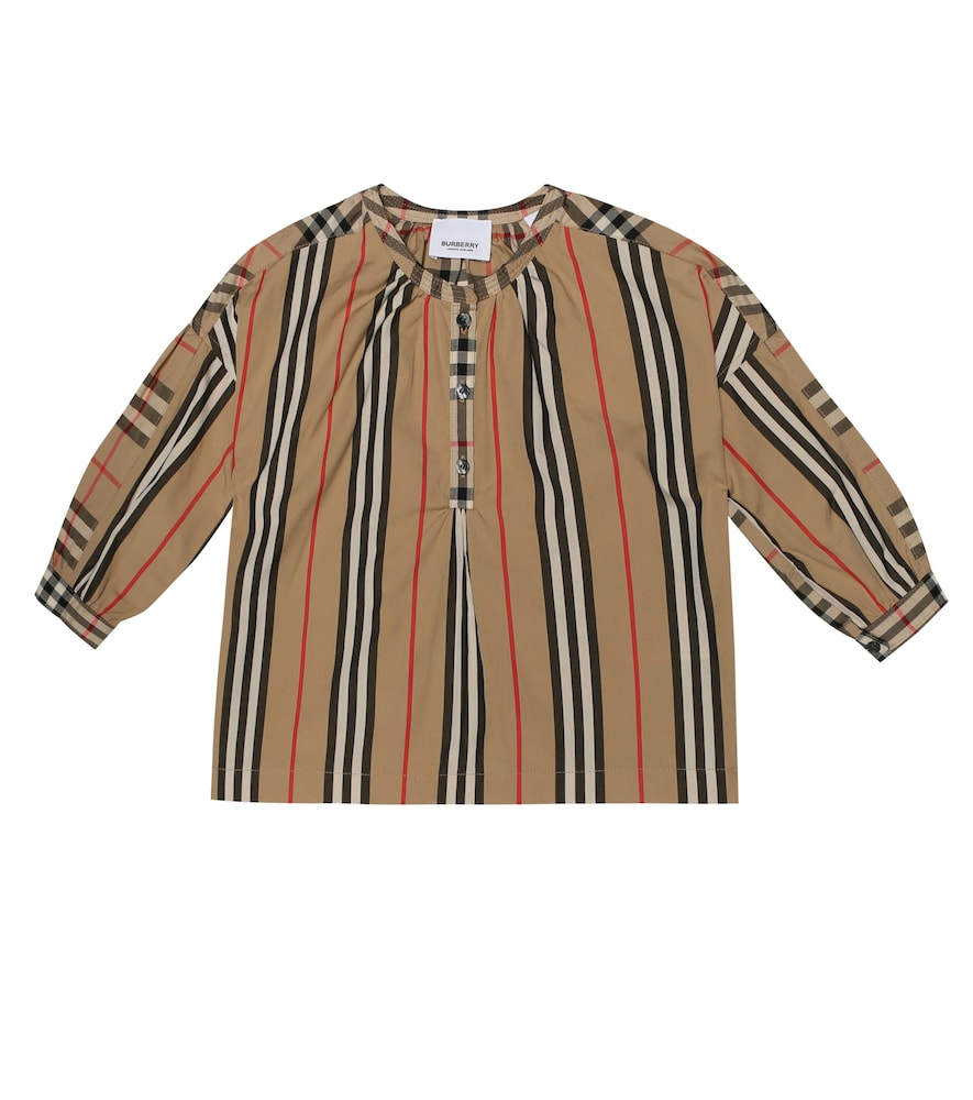 BURBERRY CHILDREN | Striped And Check Cotton Top | Goxip