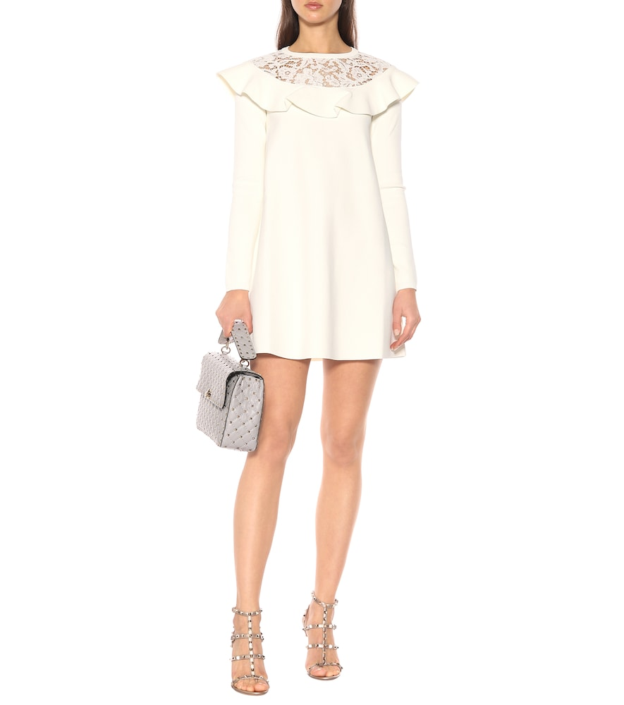 Lace-trimmed knit minidress by Valentino