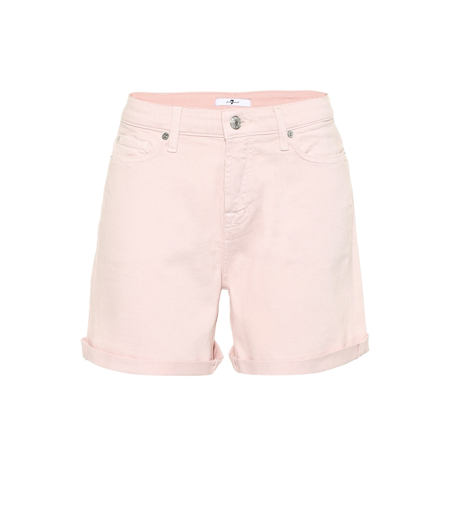 7 For All Mankind Boy Shorts High-rise Denim Shorts In Pink
