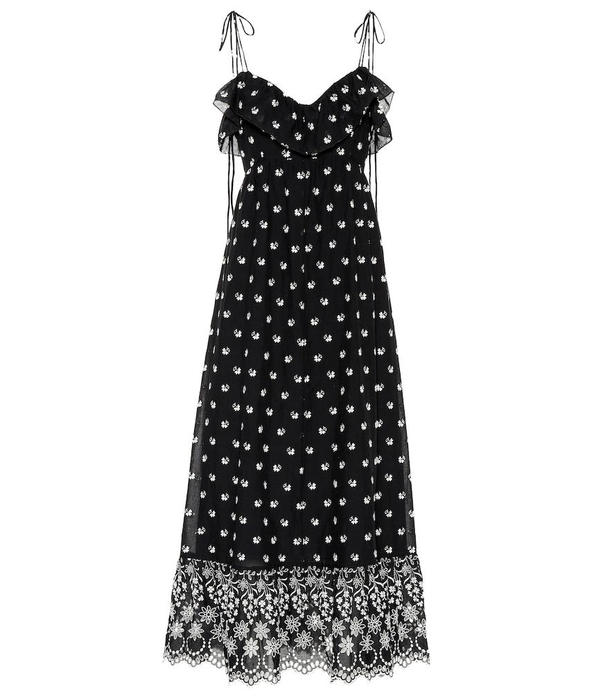ATHENA PROCOPIOU Embroidered Cotton Dress in Black