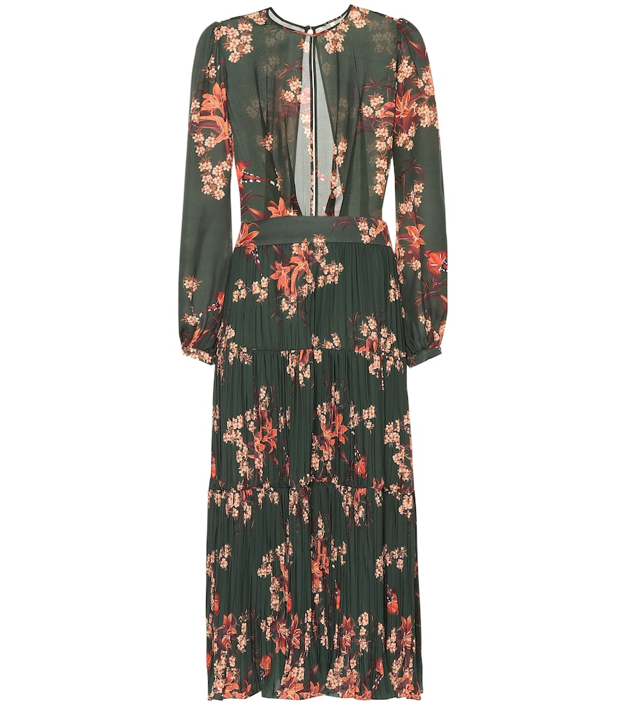 JOHANNA ORTIZ Counter Culture Blouson-Sleeve Floral-Print Silk Georgette Midi Dress W/ Pleated Skirt in Green