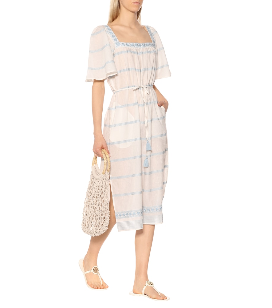 Embroidered linen and cotton dress by Tory Burch
