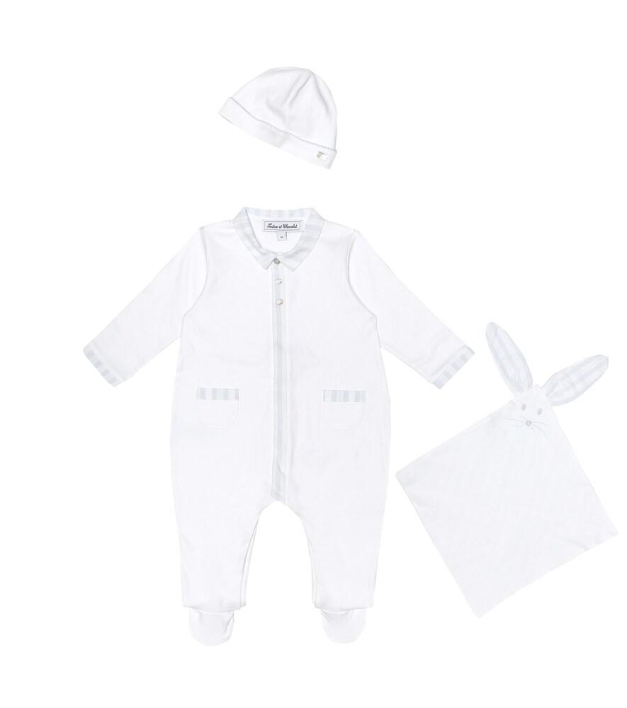 Bébé – Set grenouillère, bonnet et doudou en coton