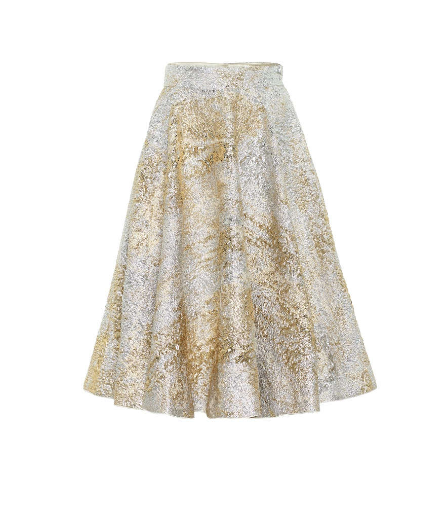 Metallic brocade midi skirt