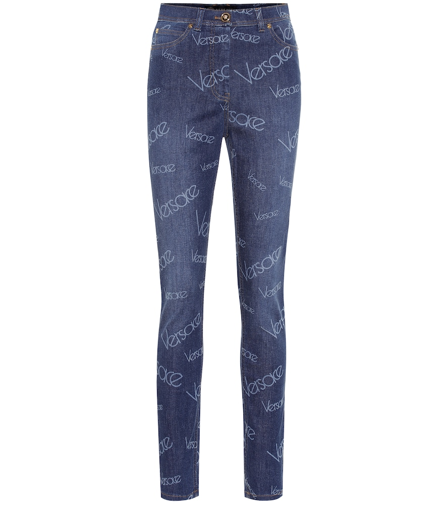 Versace Logo High-Rise Skinny Jeans In Blue
