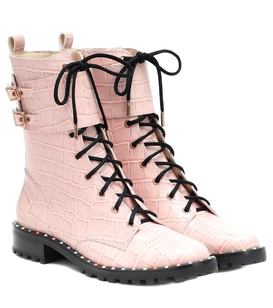 Sophia Webster Bessie Leather Ankle Boot In Pink