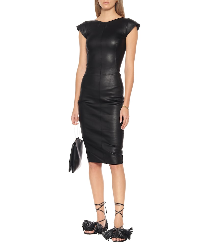Easy Sarah leather and cotton dress by Rick Owens
