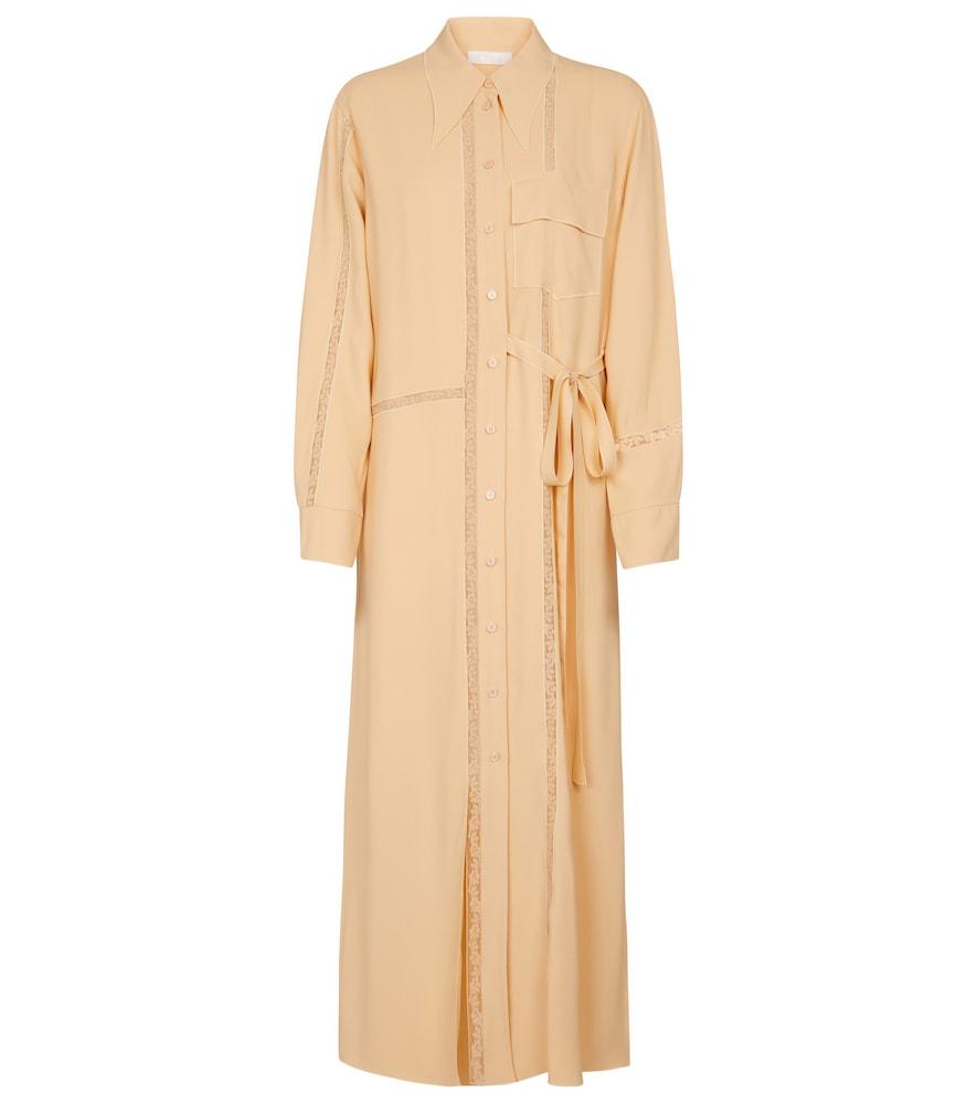 Chloé Midi dresses LACE-TRIMMED CRÊPE MAXI DRESS