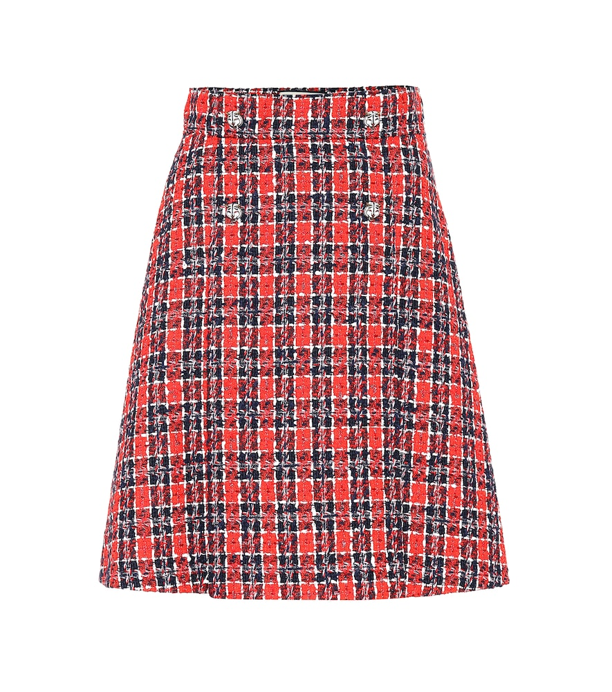 CHECKED TWEED MINISKIRT