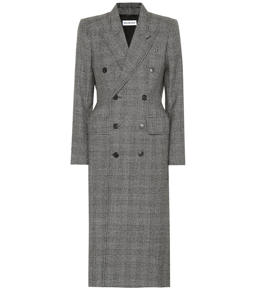 Hourglass Checked Wool Double-Breasted Coat - Black Size 38 Fr