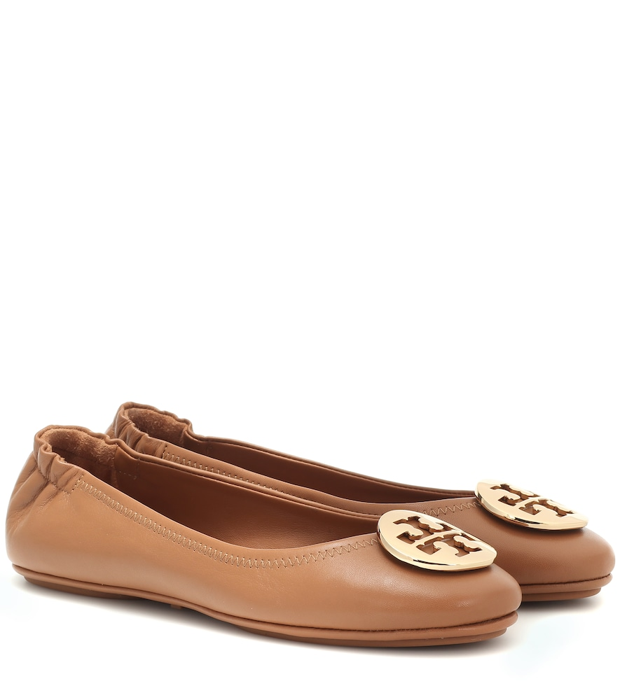 Tory Burch Minnie Travel Leather Ballet Flats In Brown