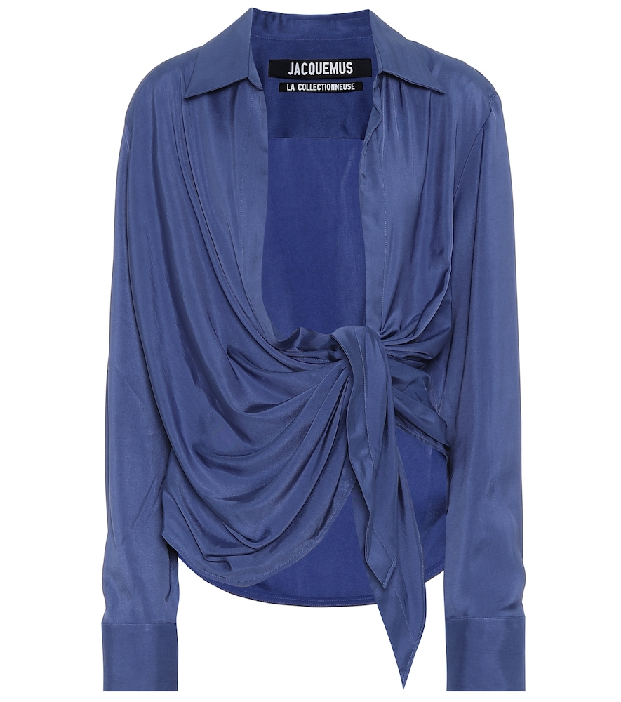 Jacquemus Tops LE HAUT AZUR COTTON-BLEND TOP