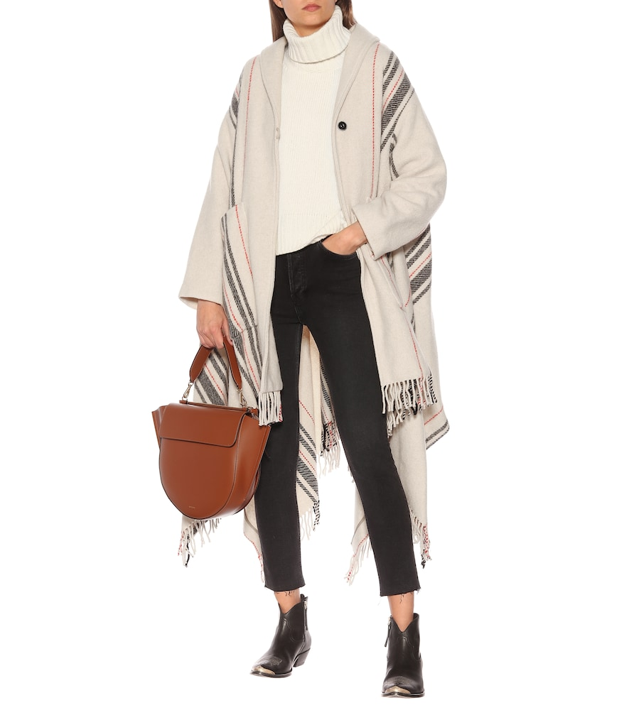 Striped wool-blend poncho by Woolrich