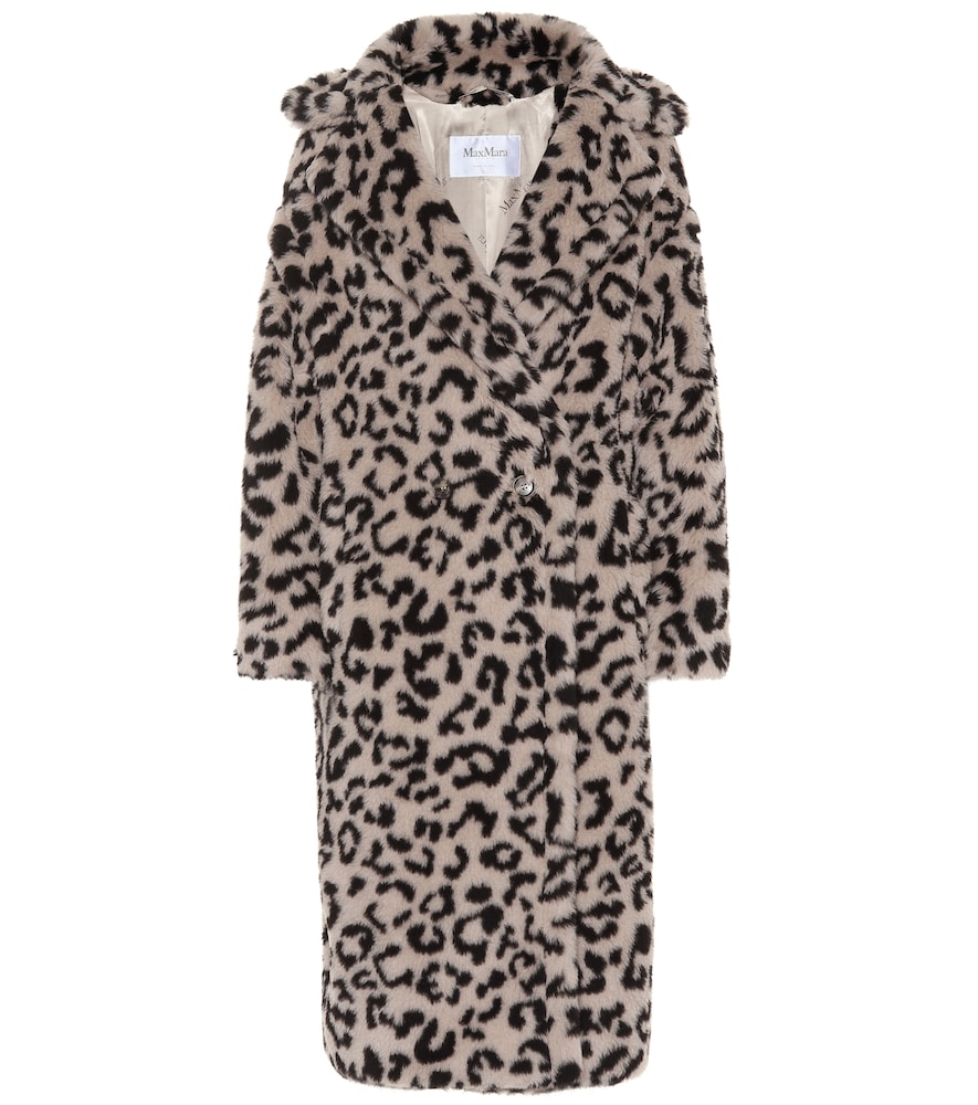 Edy Oversized Leopard-Print Faux Shearling Coat, Multicoloured