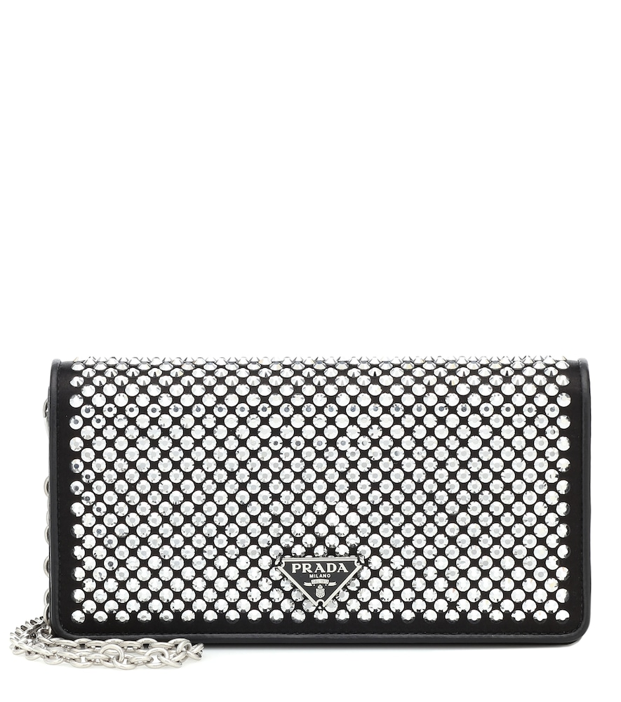 Prada Crystal-Embellished Leather Clutch In Black