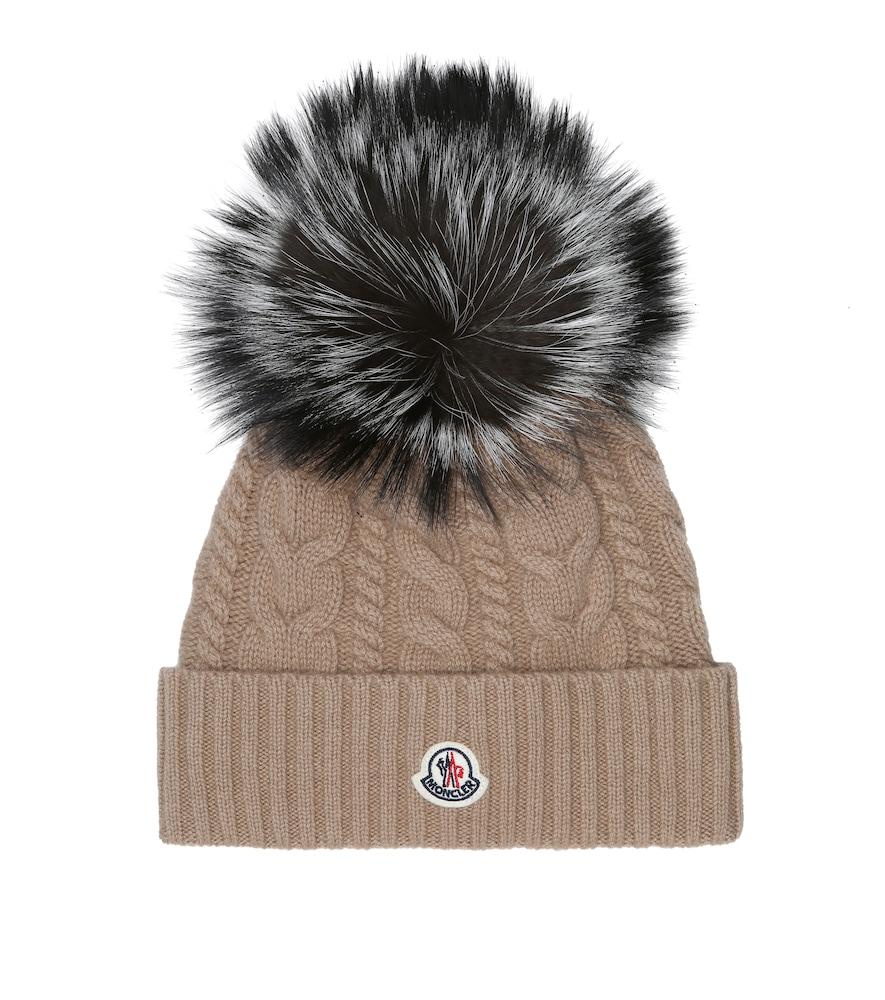 Bonnet en laine et cachemire à fourrure - Moncler - Modalova