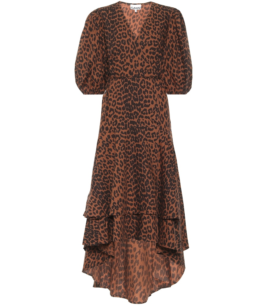 Leopard-print cotton wrap dress