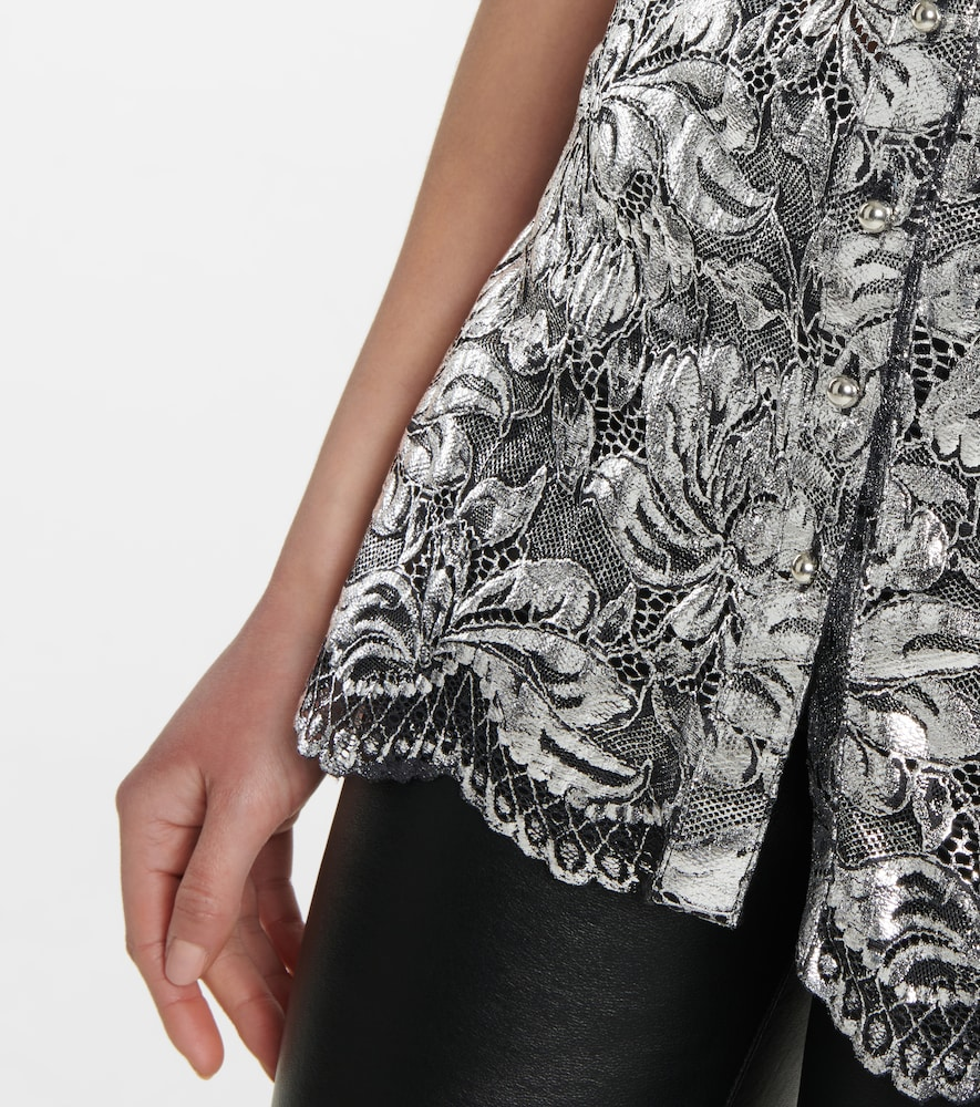 PACO RABANNE Linings METALLIC FLORAL-LACE BLOUSE