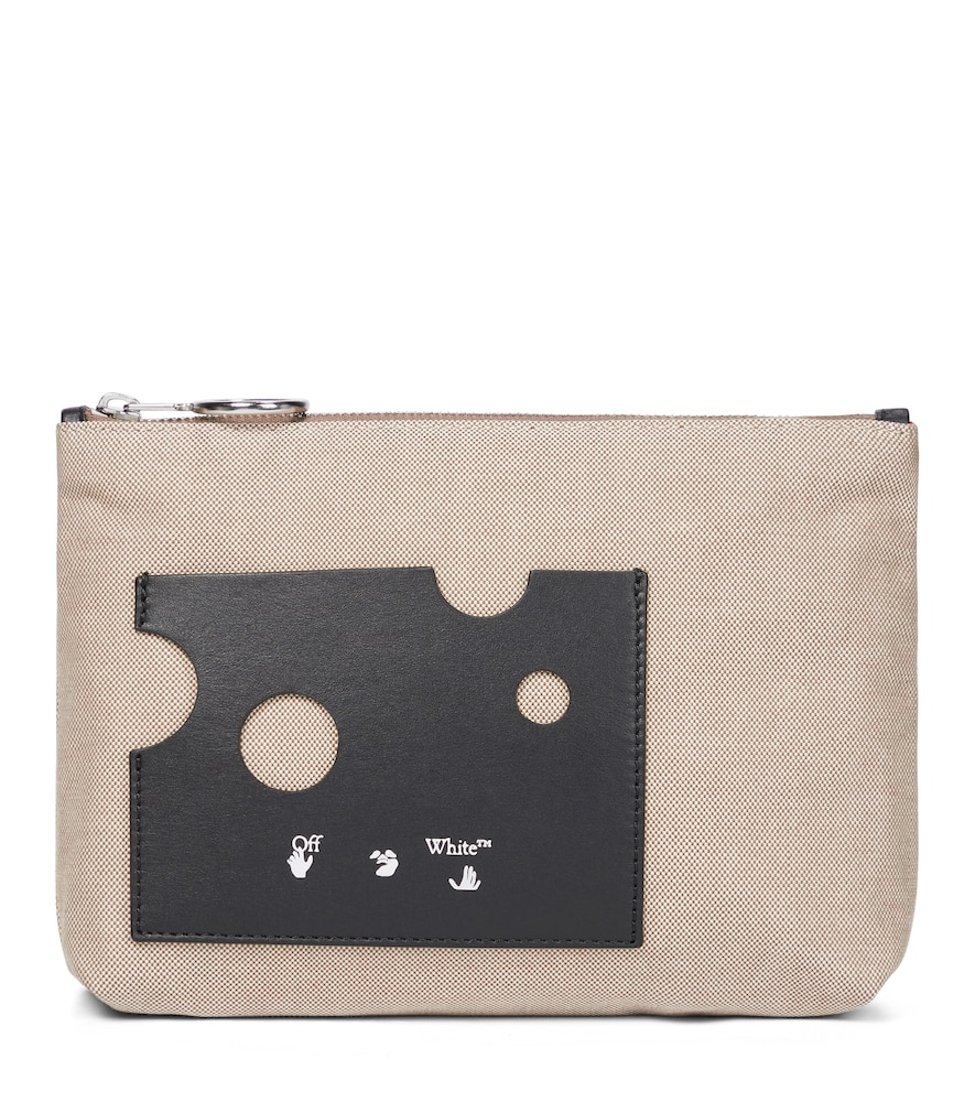 Repeat leather-trimmed canvas pouch