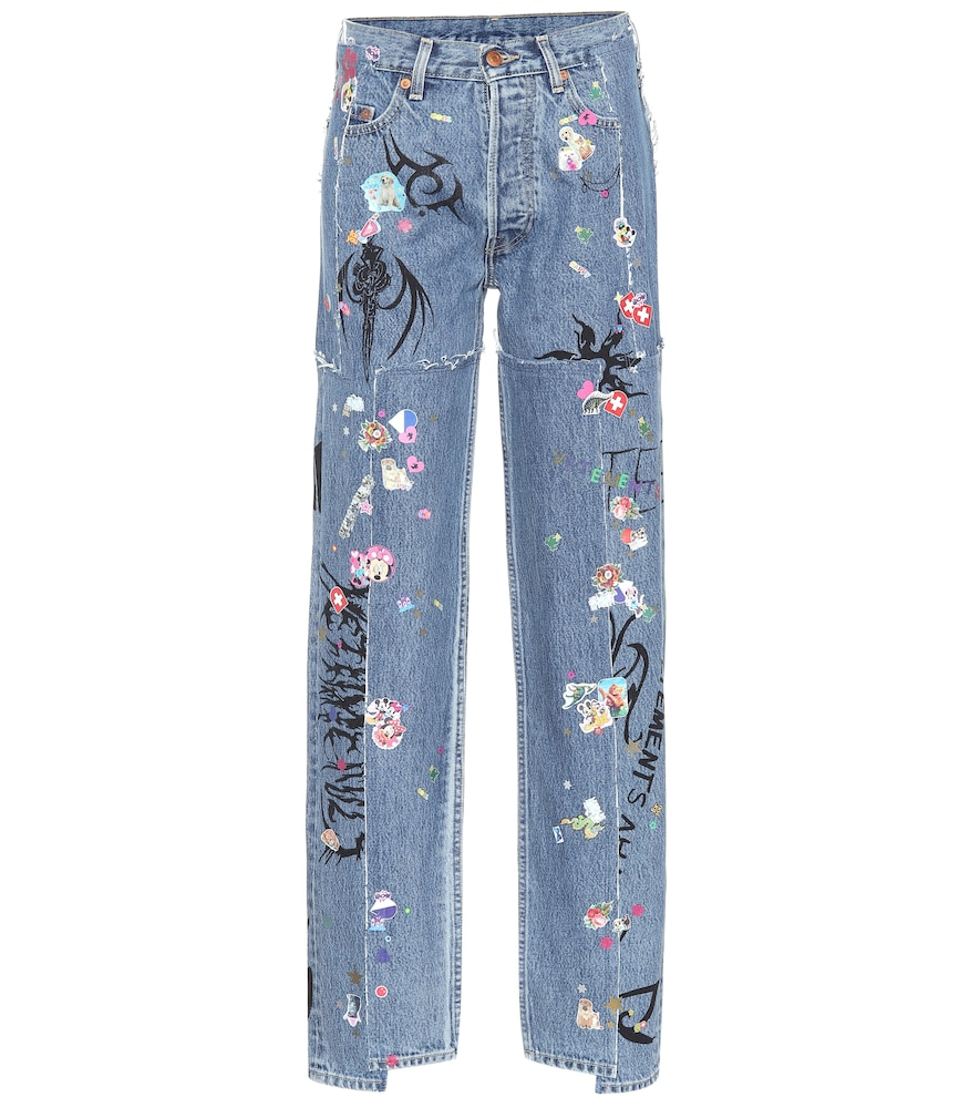 VETEMENTS X Levi'S&Reg; High-Rise Wide-Leg Jeans in Blue