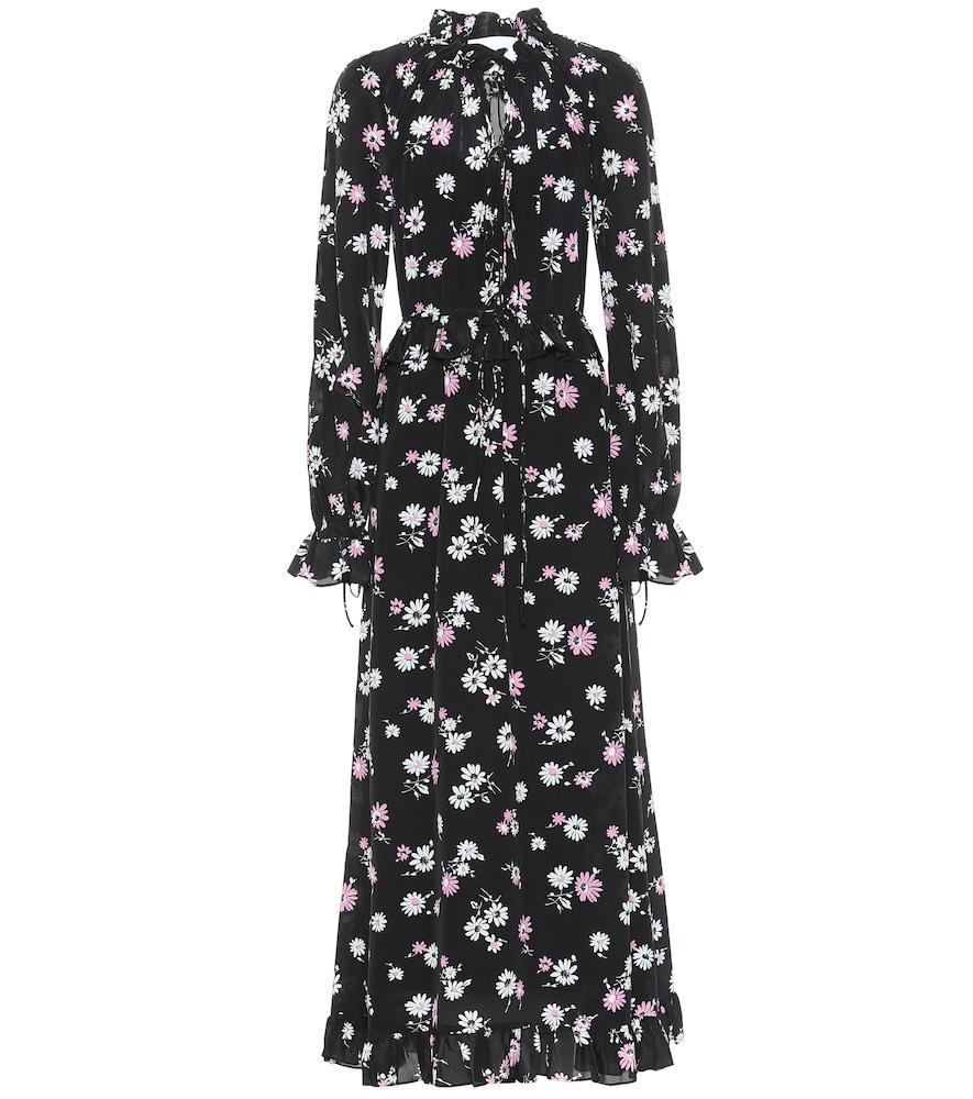 Robe longue imprimée en soie