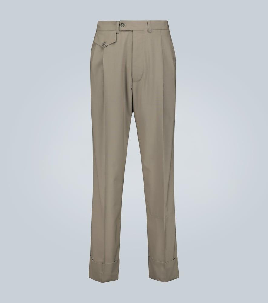 Pantalon en laine à doubles plis