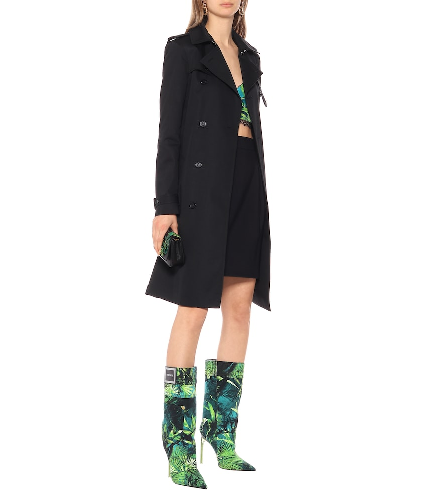 Jungle-print denim boots by Versace