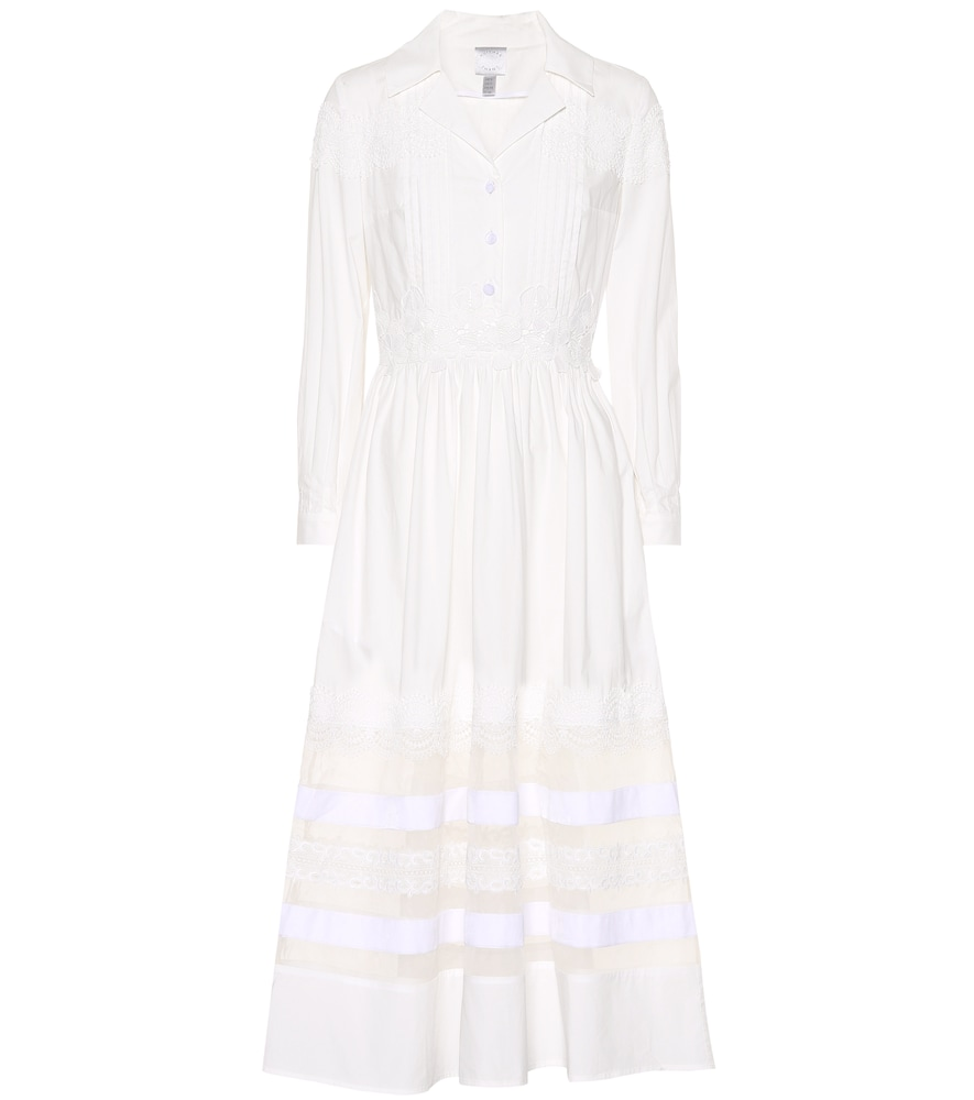 HUISHAN ZHANG LACE-TRIMMED COTTON DRESS