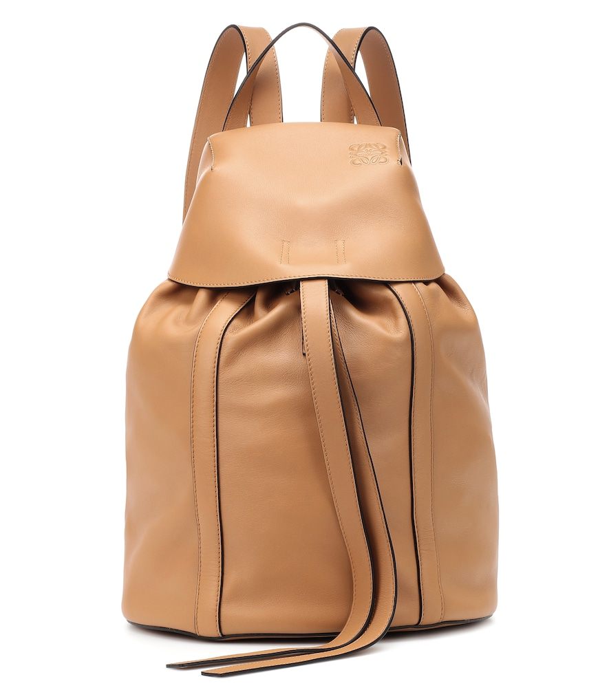 Rucksack Small Leather Backpack in Beige