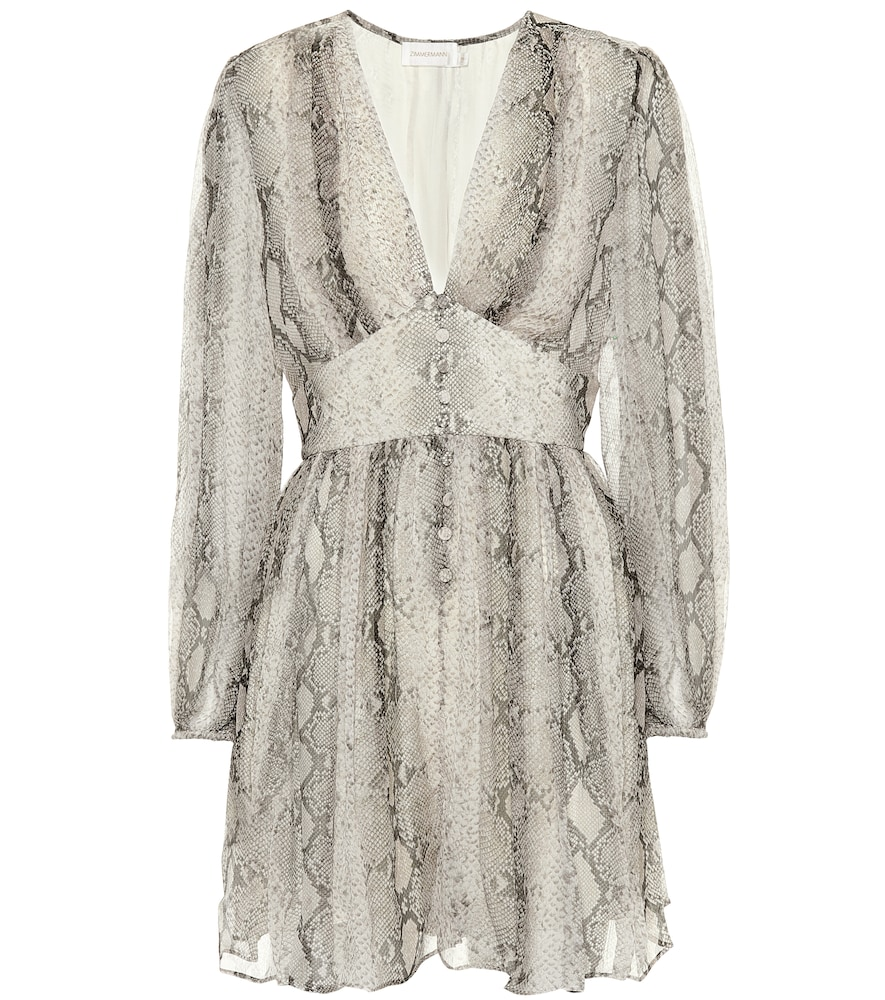 Corsage Python-Printed Silk Playsuit in Beige