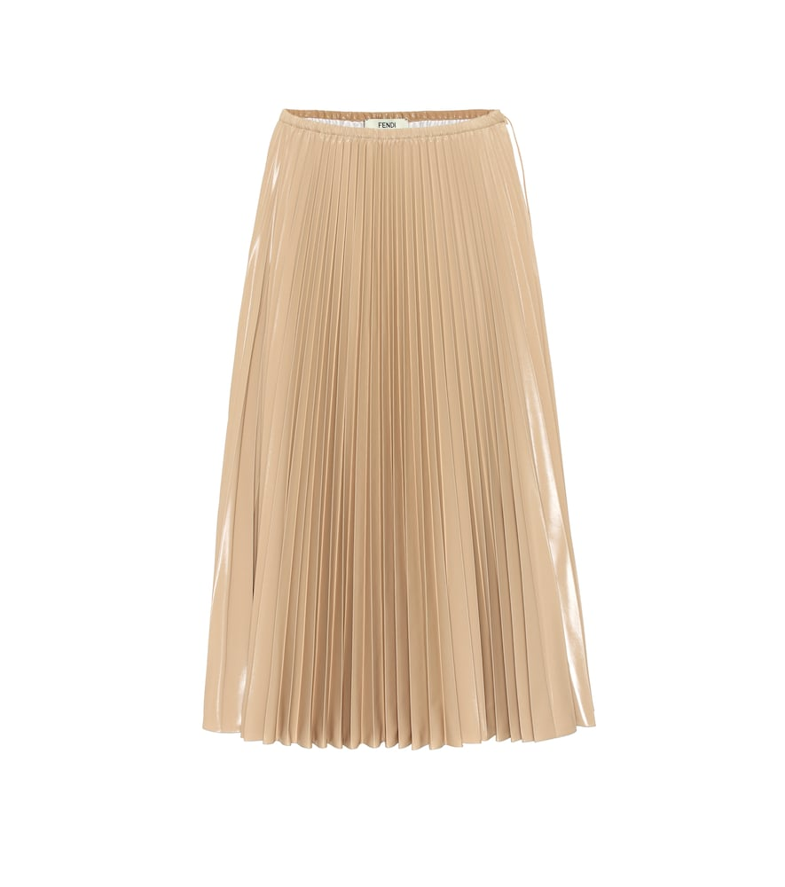 adb6e371c4c0fa Fendi Pleated Nylon Midi Skirt In Beige | ModeSens