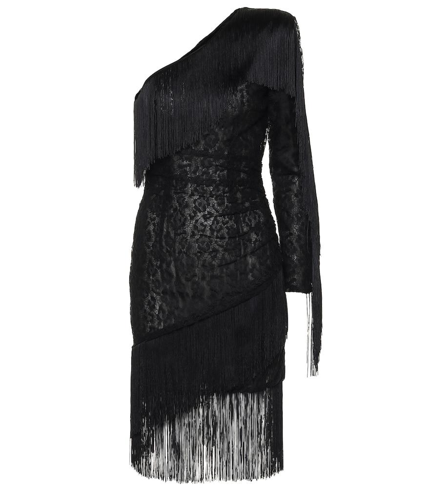 Robe asymétrique en dentelle à franges