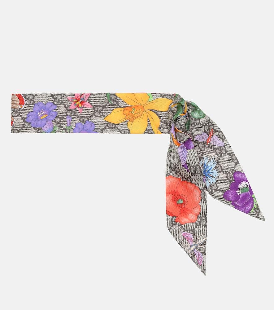 Foulard GG Flora en soie à fleurs