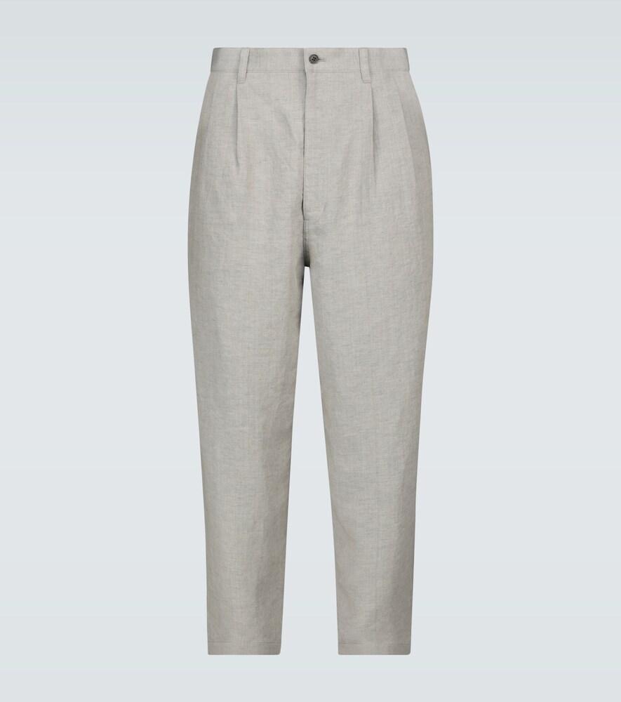 Cropped linen chambray pants
