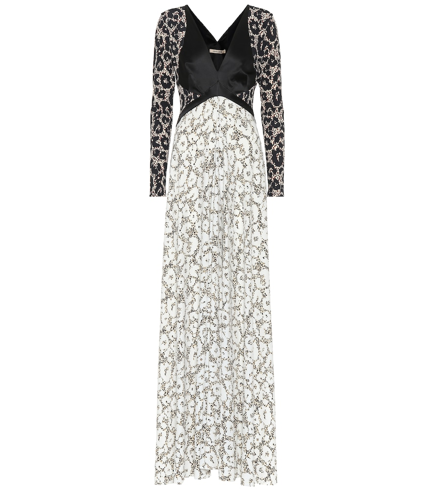 ROBERTO CAVALLI Retro Leopard Long Sleeve Knit Dress in Black