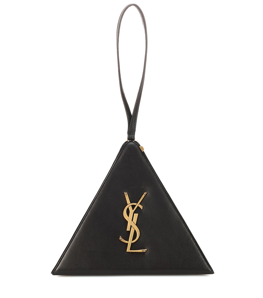 SAINT LAURENT PYRAMID LEATHER CLUTCH