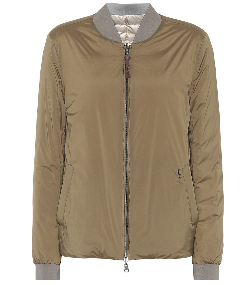 WOOLRICH Taupe Reversible Short Bomber in Green