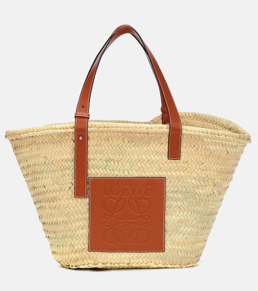 Large leather-trimmed basket tote