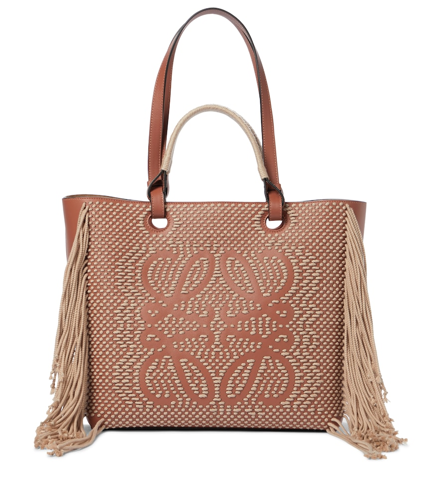 Anagram rope-trimmed leather tote