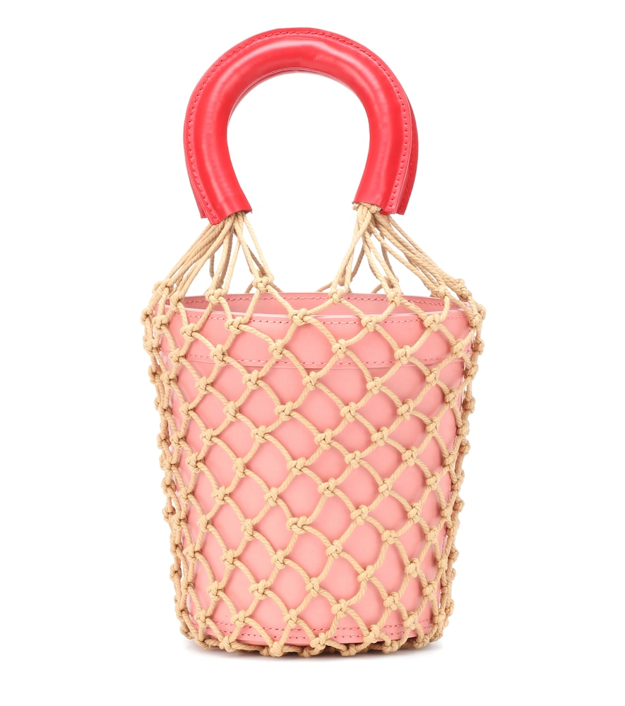 STAUD Moreau Leather Bucket Bag in Pink