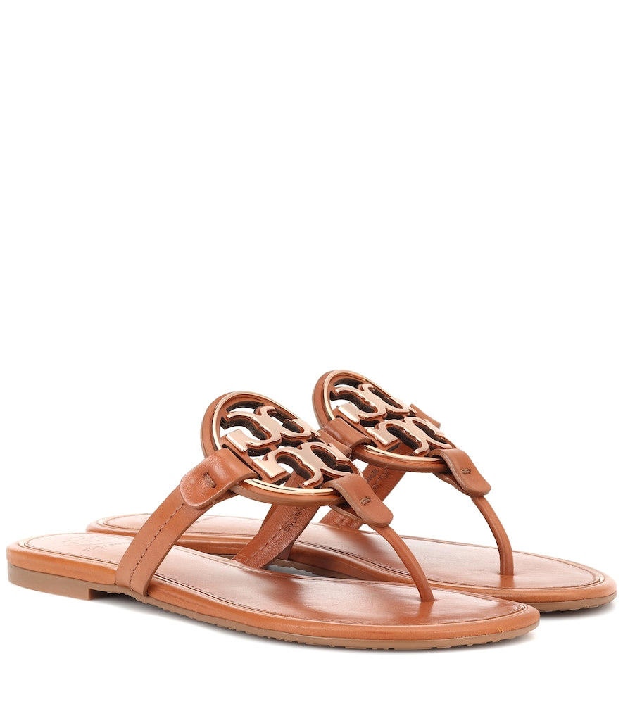 Women'S Miller Leather Thong Sandals in Brown