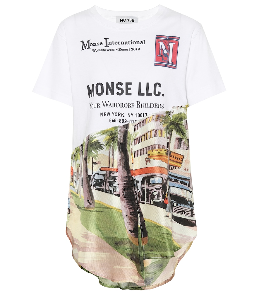 Monse Tops PRINTED SILK AND COTTON-BLEND T-SHIRT