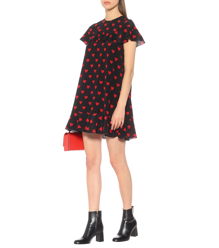 Heart-printed silk minidress by REDValentino