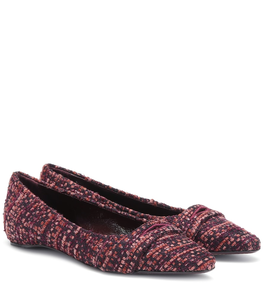 Ballerines en tweed de coton et laine mélangés