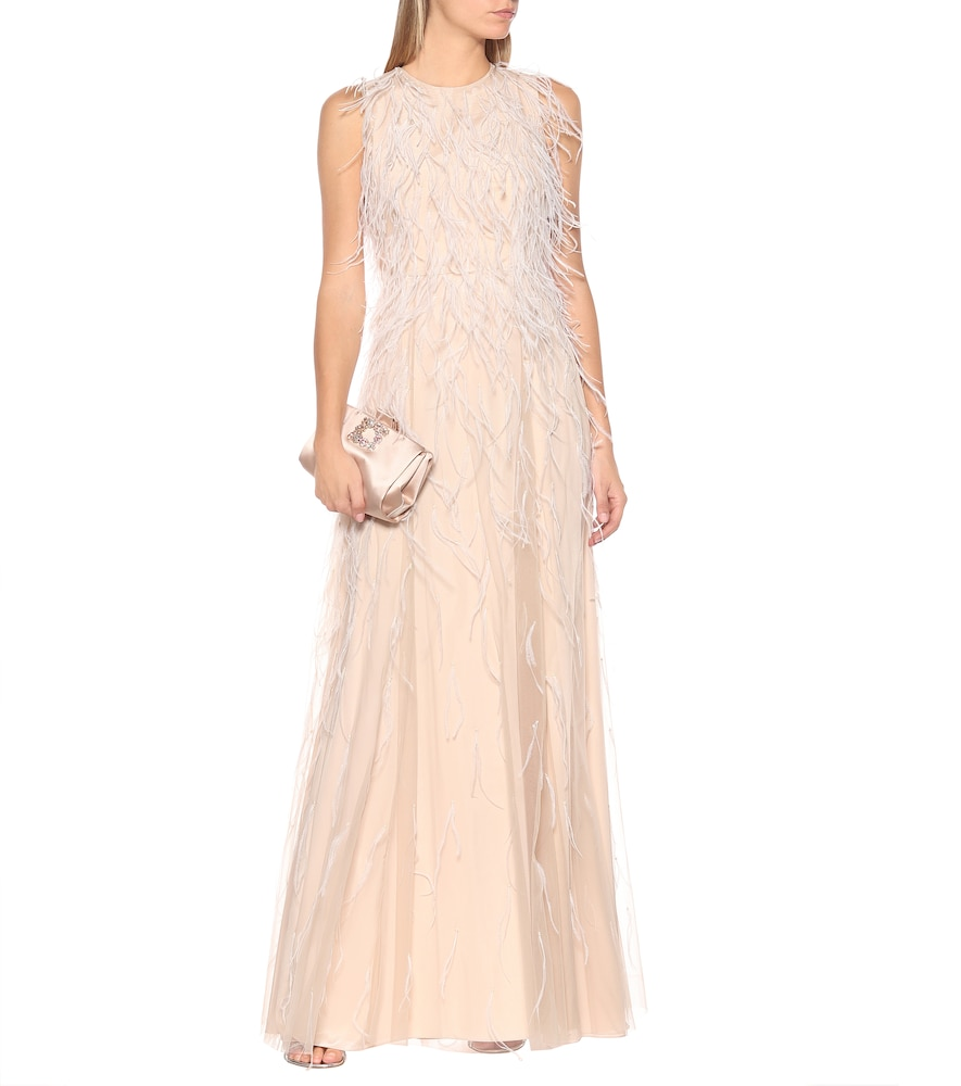 Berg feather-trimmed bridal gown by Max Mara