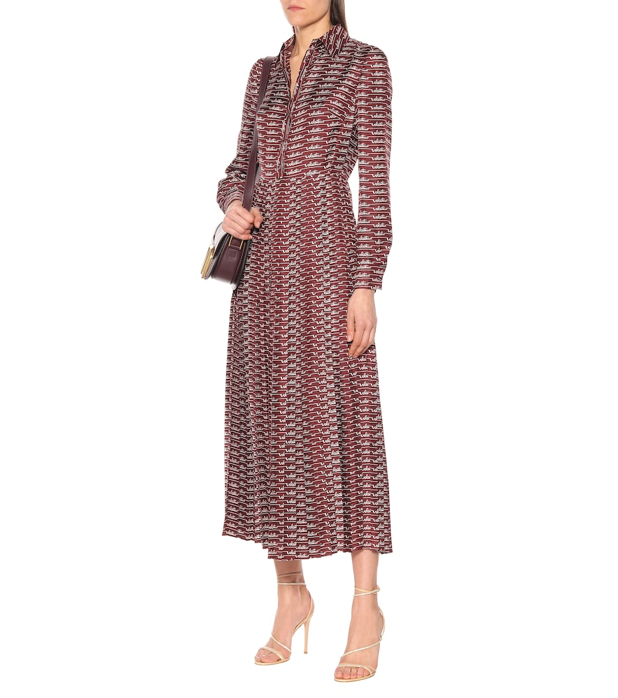 Logo silk midi shirt dress by Valentino