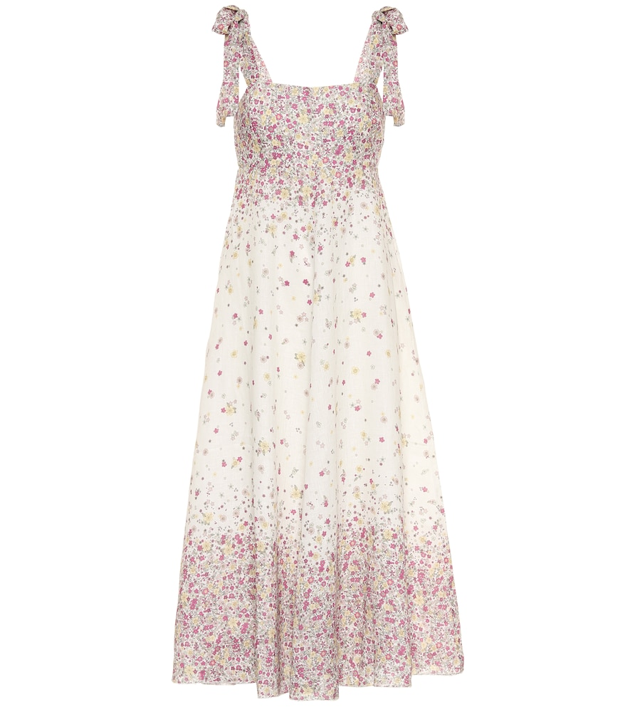 Carnaby floral linen midi dress