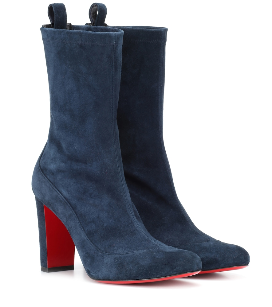 CHRISTIAN LOUBOUTIN GENA 85 SUEDE ANKLE BOOTS