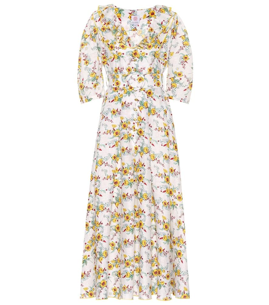 Robe longue en lin imprimé