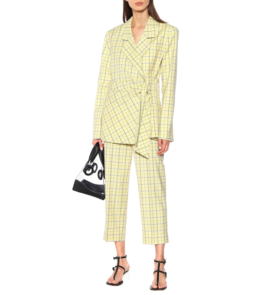 Checked wool-blend wrap blazer by Tibi